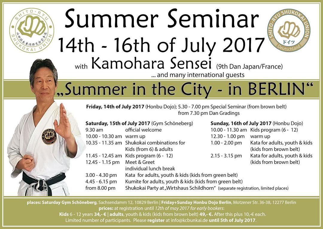 Shito-ryu Shukokai Karatedo seminars with sensei Tsutomu KAMOHARA in Germany