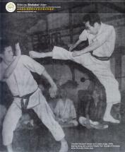 Yamada Haruyoshi and Tani Chojiro in 1959 at the Shukokai Honbu Dojo